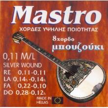 Σετ χορδές Mastro Silver plated για 8χορδο μπουζούκι.