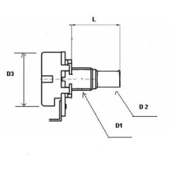 Mini Ποτενσιόμετρο CF A500K Tone Κοντός Άξονας.